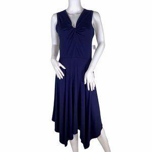 Spense Knotted Front Navy Blue Dress Size Medium